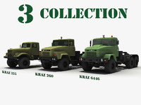 3d ukrainian military trucks kraz model