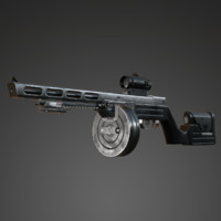 submachine gun ppsh-14 3d model