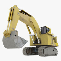 rigged shovel excavator construction obj