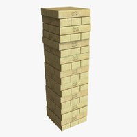 3d model of jenga realistic fall