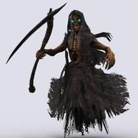 3d reaper scythe death model