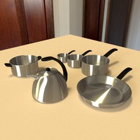 stainless steel pans 3d model