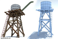3d model old wild west water tank