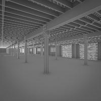 art deco industrial building 3d obj