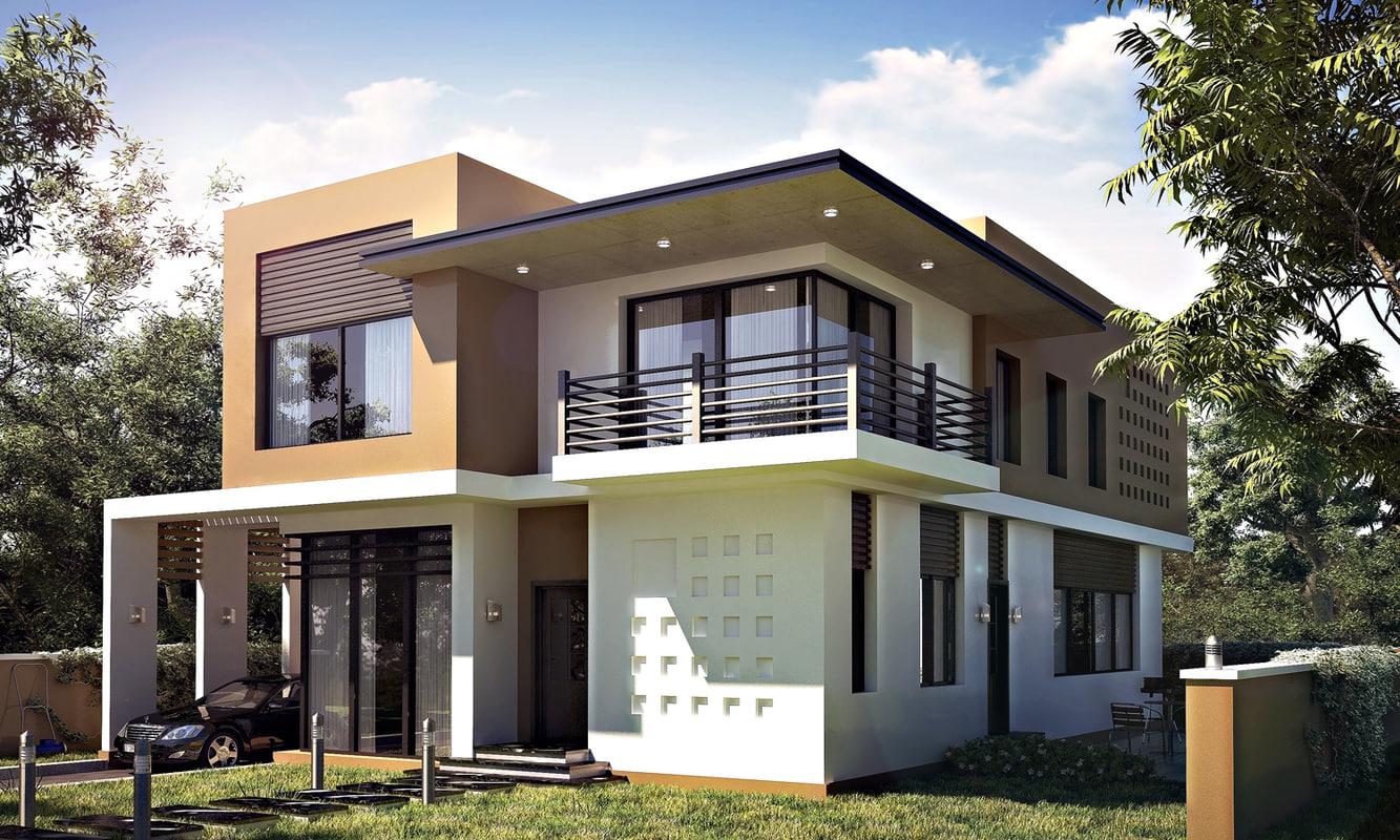 realistic modern villa 3d max