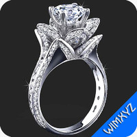 3d model flower rose diamond engagement rings