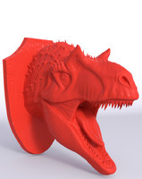 free alossaur wall trophy print 3d model