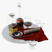 obj set decanter cognac whiskey
