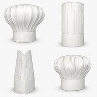 realistic chef hat set 3d 3ds