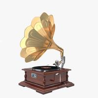 3d obj gramophone