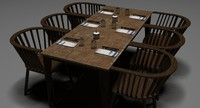 3d restaurant table chairs