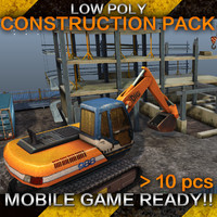 Construction Pack - Crane - Digger and Props - low poly