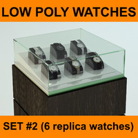 6 High quality Low Poly Replica Watches Collection Set #2 ready to use for watch or jewelry shop