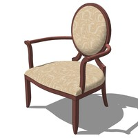 french classic armchair designed 3d model
