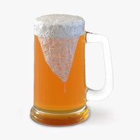 3d model overflowing beer mug