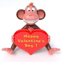 valentine monkey 3d max
