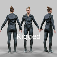 scanned female character rigged 3d model