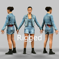 scanned female character rigged fbx