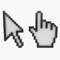 arrow hand cursor 3d model