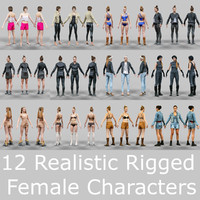 3d 12 female characters rigged model