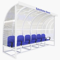 3d model of substitutes bench