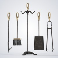 3d model of set fireplace tools