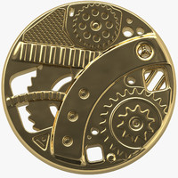 steampunk button 3d 3ds