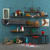 Decorative set accessories+furniture+floor lamp