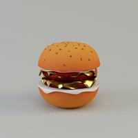 cartoon hamburger c4d