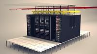 comms server data center 3d model