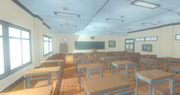 3d model anime classroom prop