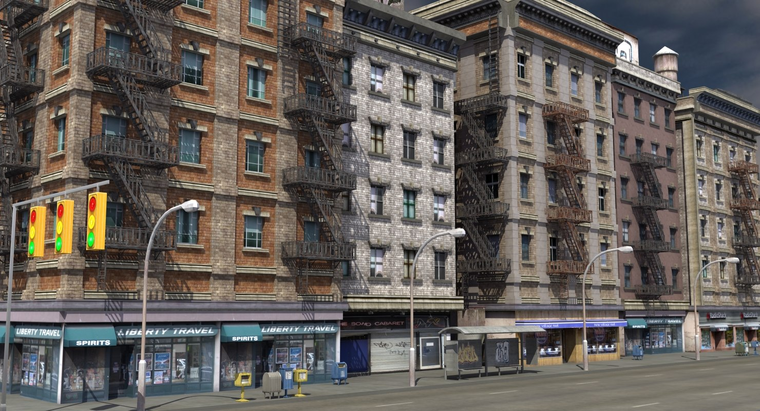 3d new york facade street for Model house nyc