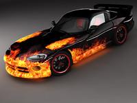 3d dodge viper gts sports car