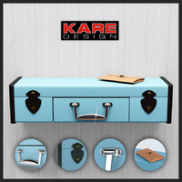 3d wall shelf suitcase kare model