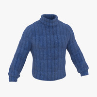 3d model wool sweater blue