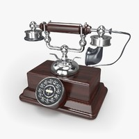 3d model retro telephone