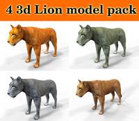 3d model lion 4 different