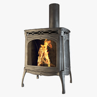 scandinavian fireplace 3d obj