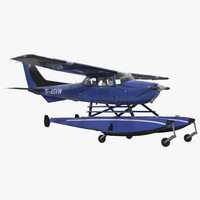 3d model cessna 172 blue seaplane