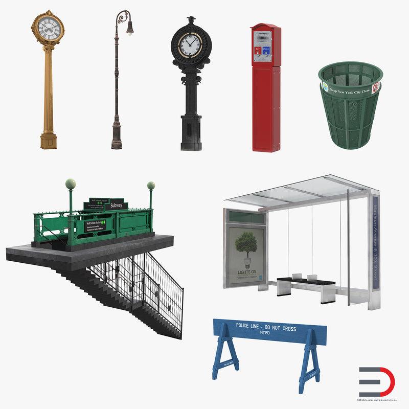 New York Street Elements Set 3d models 00.jpg