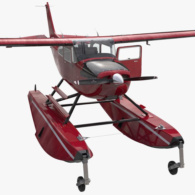 Cessna 172 Red Seaplane Rigged 3d model 00.jpg