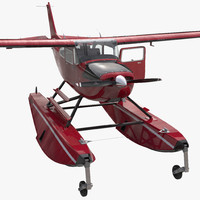 3d model cessna 172 red seaplane