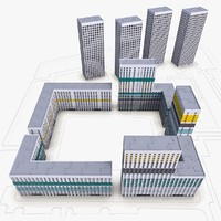 modern residential complex build 3d max