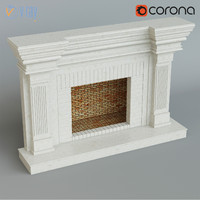 classical fireplace 3d max