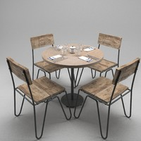 restaurant table chairs 3d 3ds