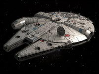 3d movie millenium falcon space ship model