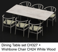 hardwood dining table wishbone chair max