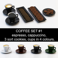 Coffee set #1: espresso, cappuccino, 3 sort cookies, cup in 4 colours (high poly model, ready for you coffeetable)