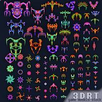 3d sci-fi aliens fleet - model