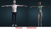 3d model couple zombies